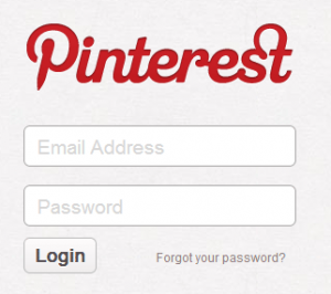 Login page for pinterest.